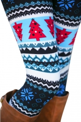 Womens High Waisted Fair Isle Christmas Tree Printed Leggings Blue