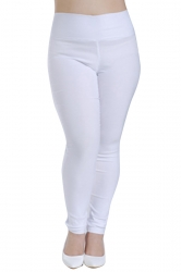 Womens Plus Size High Waisted Elastic Leggings White