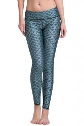 Womens Mermaid Scales Digital Print Yoga Sports Leggings Blue