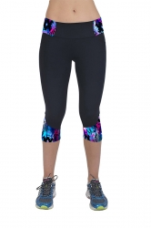 Womens Digital Print Elastic Waist Sports Capri Leggings Sapphire Blue