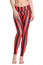 Womens Vertical Striped Digital Print Elastic Waist Tight Leggings Red