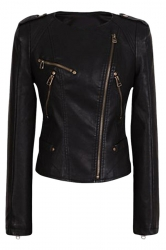 Womens Plain Round Neck Oblique Zipper Short PU Leather Jacket Black