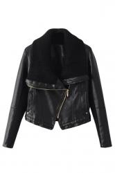 Womens Oblique Zipper Knitting Lapel Splice PU Leather Jacket Black