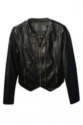 Womens Plain Long Sleeve Round Neck Zipper PU Leather Jacket Black