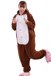 Womens Cute Warm Hooded Mole Pajamas Jumpsuit Costume Brown