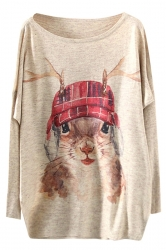 Womens Loose Crewneck Batwing Sleeve Squirrel Printed Sweater Brown