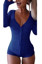 Womens Deep V-Neck Long Sleeve Buttons Sheath Knitted Bodysuit Blue