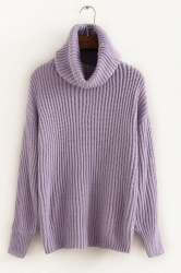 Womens Plain Polo Neck Thick Pullover Knitted Sweater Purple