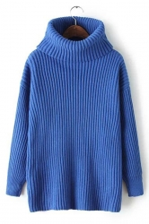 Womens Plain Polo Neck Thick Pullover Knitted Sweater Sapphire Blue