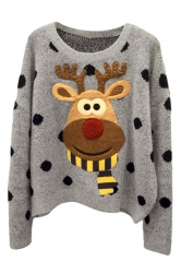 Womens Cute Reindeer Patterned Pullover Ugly Christmas Sweater Gray