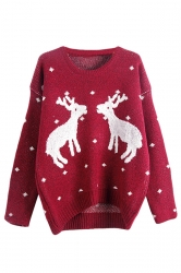 Womens Crewneck Two Reindeers Patterned Ugly Christmas Sweater Ruby