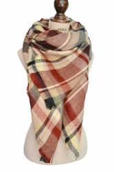 Womens Stylish Warm Plaid Pattern Big Square Scarf Shawl Khaki