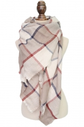 Womens Warm Cashmere Plaid Pattern Big Square Scarf Shawl Beige White