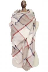 Womens Warm Cashmere Plaid Pattern Big Square Scarf Shawl Beige White