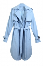 Womens Fashion Casual Lapel Long Trench Coat Blue