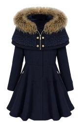Womens Stylish Hooded Long Sleeve Spliced Wool Coat Navy Blue