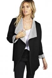 Womens Stylish Long Sleeve Turndown Collar Warm Woolen Coat Black