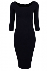Womens Plain Crewneck 3/4 Length Sleeve Knitted Bodycon Dress Black