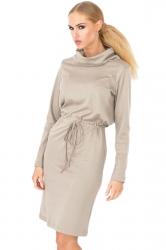 Womens Plain Long Sleeve Turtleneck Tie-waisted Midi Dress Gray
