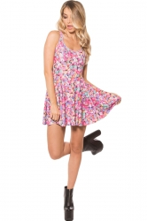 Womens Slim Candy Digital Print Crew Neck Skater Dress Pink