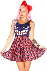 Womens Stylish Skull Digital Print Crew Neck Skater Dress Red
