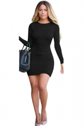 Womens Plain Round Neck Long Sleeve Backless Clubwear Dress Black