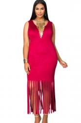 Womens Plain Round Neck Sleeveless Fringed Plus Size Dress Red