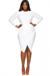 Womens Plain Round Neck Long Sleeve Slit Plus Size Dress White