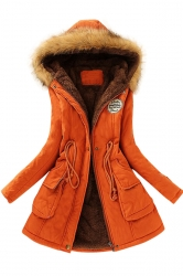 Womens Faux Fur Hooded Drawstring Thick Lined Parka Coat Orange