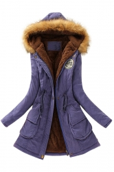 Womens Faux Fur Hooded Drawstring Thick Lined Parka Coat Sapphire Blue