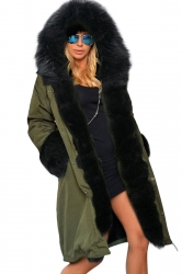 Womens Detachable Faux Fur Hooded Thick Warm Parka Coat Green