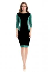 Womens Round Neck 3/4 Sleeve Color Block Spliced Bodycon Dress Black