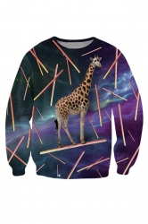 Womens Crewneck Giraffe Eat Snack 3D Print Pullover Sweatshirt Purple