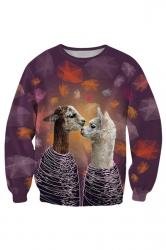 Womens Round Neck Couple Alpaca 3D Print Pullover Sweatshirt Gray