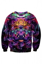 Womens Crewneck Mastermind 3D Print Pullover Sweatshirt Purple