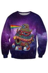 Womens Crewneck Activated Turtle Cap Print Pullover Sweatshirt Purple