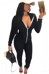 Womens Plain Long Sleeve Hooded Zipper Close-fitting Jumpsuit Black