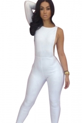 Womens Plain One Shoulder Backless Close-fitting Jumpsuit White