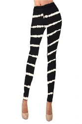 Womens Striped Printed Washed Skinny Elastic Waist Leggings Black