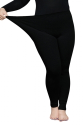 Womens Thick Plus Size High Elastic Ankle-length Leggings Black