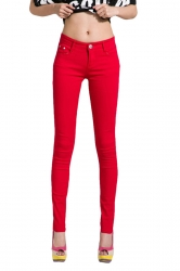 Womens Slim Plain High Elastic Pockets Pencil Pants Leggings Red