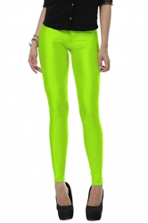Womens Stylish High Elastic Neon Liquid Leggings Green