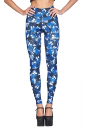 Womens High Elastic Tardis Stencil Digital Print Leggings Blue