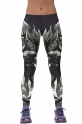 Womens Animation Batman 3D Digital Print High Elastic Leggings Gray