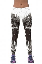 Womens Stylish Batman 3D Digital Print High Elastic Leggings Gray