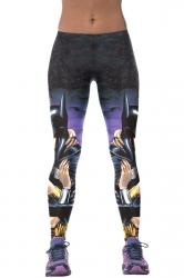 Womens Batman Kissing Wonder Girl 3D Print High Elastic Leggings Blue