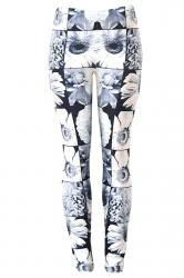 Womens Beautiful Daisy 3D Digital Print High Elastic Leggings White