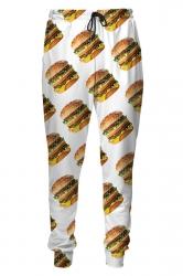 Womens Big Mac Hamburger Digital Print Leisure Harem Sweatpants White