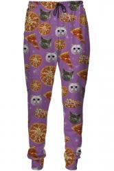 Womens Pizza Cat 3D Digital Print Leisure Harem Sweatpants Purple