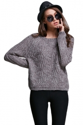 Womens Plain Round Neck Hollow Out Cable Knit Pullover Sweater Gray